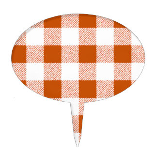 Brown Gingham Check Pattern Cake Topper