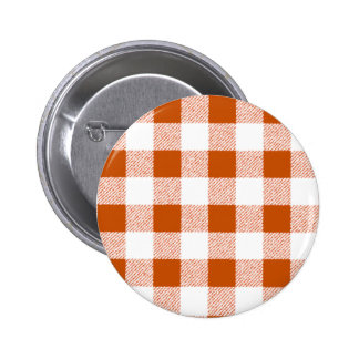 Brown Gingham Check Pattern Pinback Button