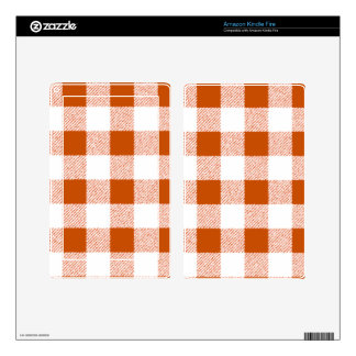 Brown Gingham Check Pattern Skin For Kindle Fire
