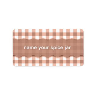 Brown Gingham Checkered Design Kitchen Label