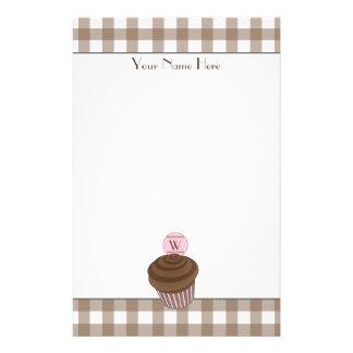 Brown Gingham / Chocolate Cupcake Stationery