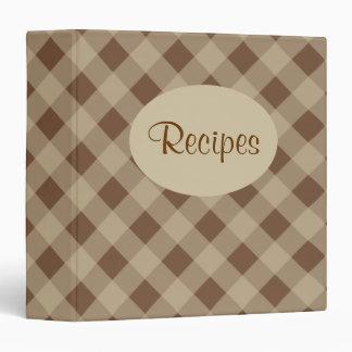 Brown Gingham Recipe Binder