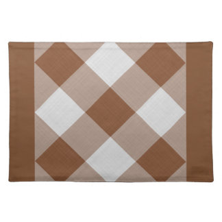 Brown gingham style pattern placemat