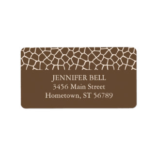 Brown Giraffe Address Label