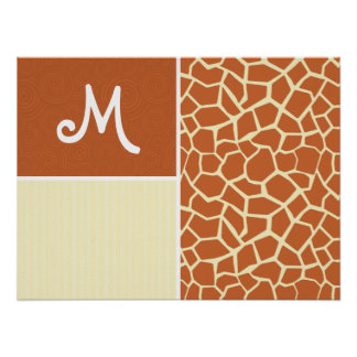 Brown Giraffe Pattern Poster