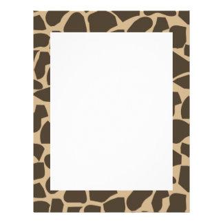 Brown Giraffe Pattern Print Letterhead