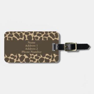 Brown Giraffe Pattern Print Luggage Tag