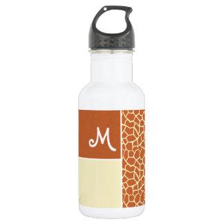 Brown Giraffe Pattern Water Bottle