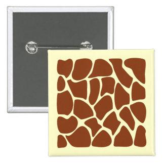 Brown Giraffe Print Pattern. 2 Inch Square Button