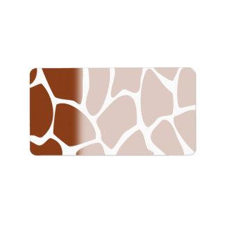 Brown Giraffe Print Pattern. Address Label