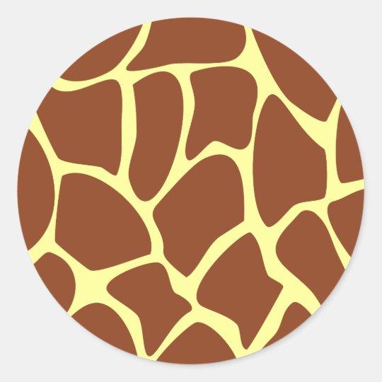 Brown Giraffe Print Pattern. Classic Round Sticker