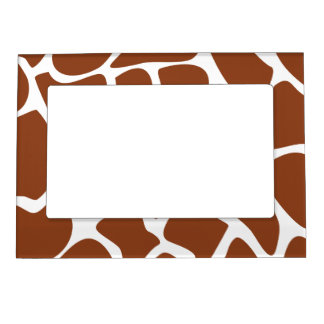 Brown Giraffe Print Pattern. Magnetic Picture Frame