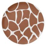 Brown Giraffe Print Pattern. Party Plate