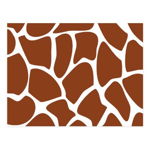 Brown Giraffe Print Pattern. Postcards