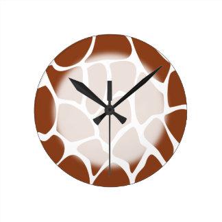 Brown Giraffe Print Pattern. Round Clock