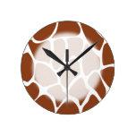 Brown Giraffe Print Pattern. Round Clocks