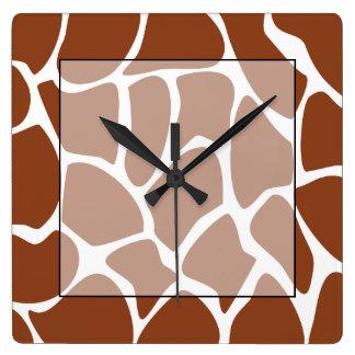 Brown Giraffe Print Pattern. Square Wall Clock