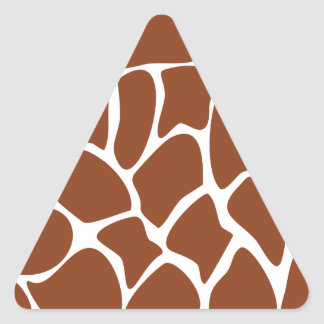 Brown Giraffe Print Pattern. Triangle Sticker
