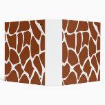 Brown Giraffe Print Pattern. Vinyl Binders