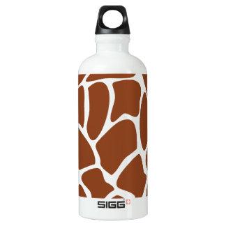 Brown Giraffe Print Pattern. Water Bottle