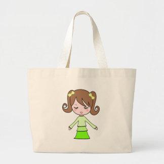 Brown girl green dress cartoon art large tote bag