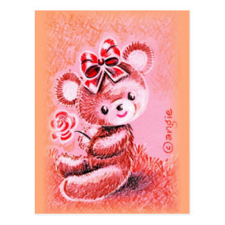 Brown Girl Teddy Bear with Bow and Rose Postcard