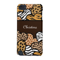 Brown Girly animal print hearts with a name iPod Touch 5G Cover