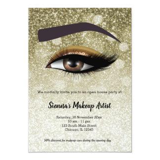 Brown glam lashes eyes | makeup artist card