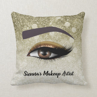 Brown glam lashes eyes | makeup artist throw pillow