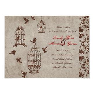 "Brown Glitter Birds Old Paper Wedding Invitation 5.5"" X 7.5"" Invitation Card"