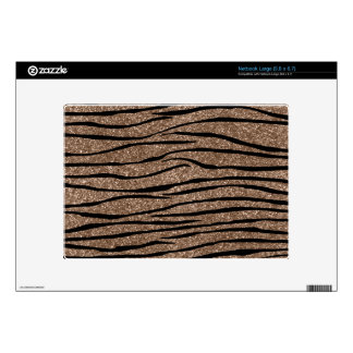 Brown glitter zebra stripes decals for large netbooks