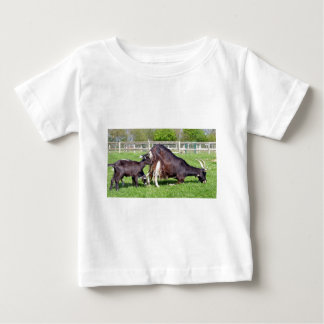 Brown goat with its kids baby T-Shirt