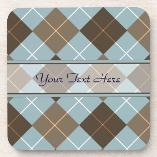 Brown, Gold, and Sky Blue Argyle Monogram Beverage Coaster