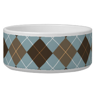 Brown, Gold, and Sky Blue Argyle Monogram Bowl
