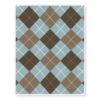 Brown, Gold, and Sky Blue Argyle Temporary Tattoos