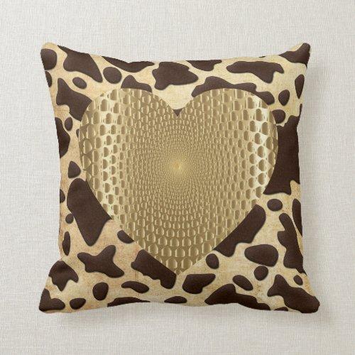 Brown & Gold Animal Print Heart Throw Pillow