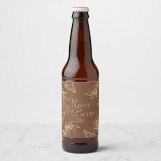 Brown & Gold Bay Leaves Beer Bottle Label