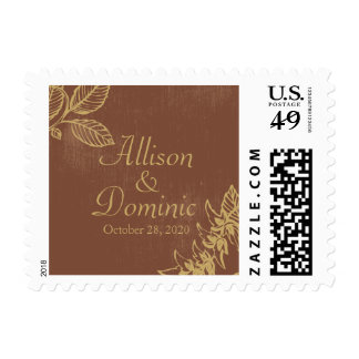 Brown & Gold Bay Leaves, Fall Wedding Postage