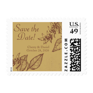 Brown & Gold Bay Leaves, Save The Date Postage