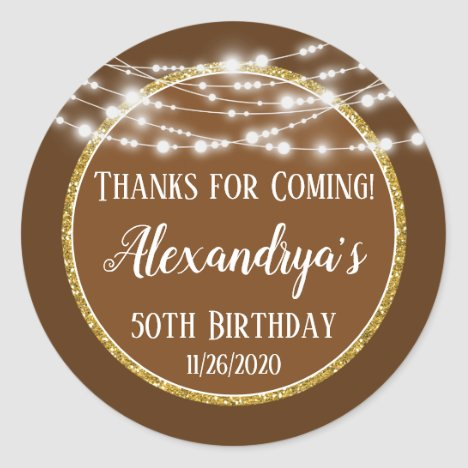 Brown Gold Birthday Thanks For Coming Favor Tags