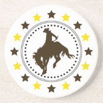 Brown Gold Bucking Horse Coaster