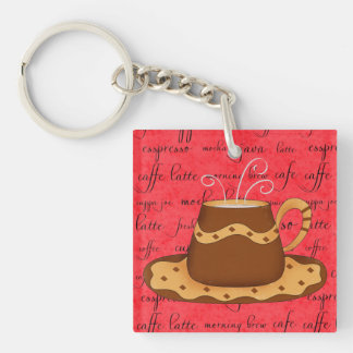 Brown Gold Coffee Cup Art on Red Script Background Keychain