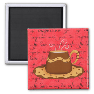 Brown Gold Coffee Cup Art on Red Script Background Refrigerator Magnet