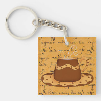 Brown Gold Coffee Cup Art on Script Background Keychain