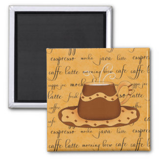 Brown Gold Coffee Cup Art on Script Background 2 Inch Square Magnet