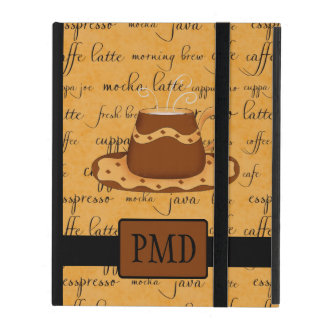 Brown Gold Coffee Cup Gold Script Monogram iPad Cover