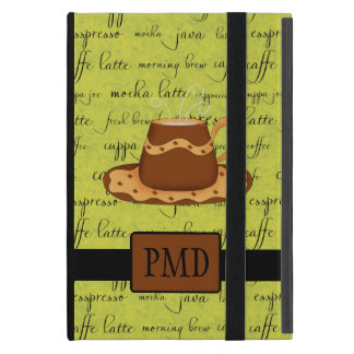 Brown Gold Coffee Cup Lime Green Script Monogram Cover For iPad Mini