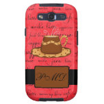 Brown Gold Coffee Cup on Red Script Monogram Galaxy SIII Case