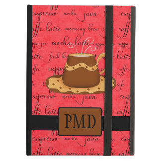 Brown Gold Coffee Cup on Red Script Monogram iPad Air Cover