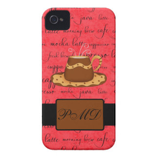 Brown Gold Coffee Cup on Red Script Monogram iPhone 4 Covers